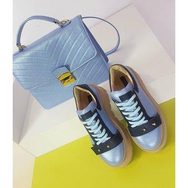 Sneakers platform din piele naturala blue Basta