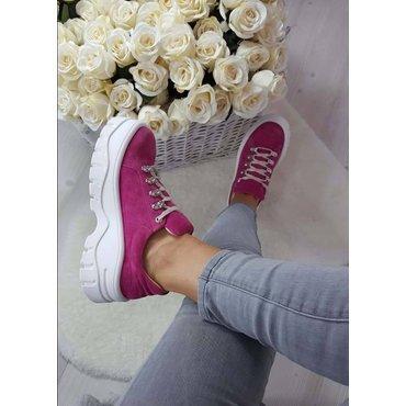 Sneakers platform din piele naturala fuxia Kalina