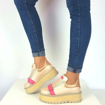Sneakers platform din piele naturala roz Basta