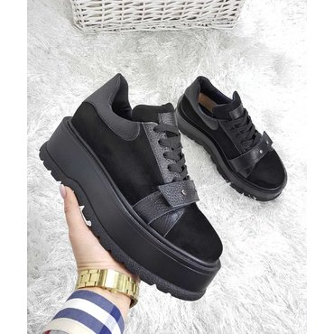 Sneakers platform din piele neagra Basta