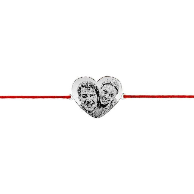 Bratara snur inima anouri 20 mm personalizata gravura foto Argint 925 rodiat