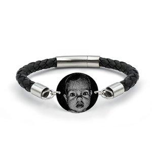 Bratara barbateasca piele banut 22 mm personalizat gravura foto Argint 925 rodiat (piele 6 mm si inchizatoare inox)