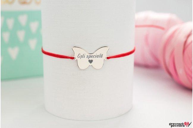 Bratara snur fluture 20 mm personalizat gravura text Argint 925 rodiat