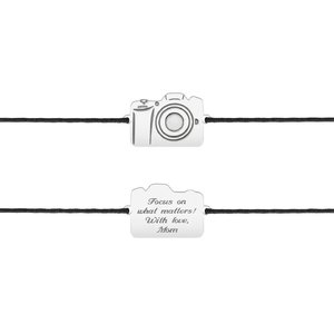 Bratara snur camera foto 17 mm personalizata gravura text Argint 925 rodiat