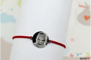 Bratara snur banut anouri 14 mm personalizat gravura foto Argint 925 rodiat