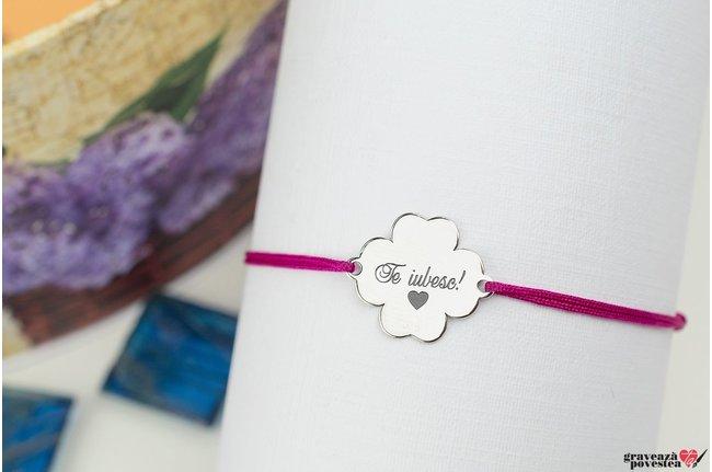 Bratara snur trifoi 14 mm personalizat gravura text Argint 925 rodiat