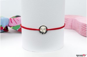 Bratara snur banut 10 mm personalizat gravura foto Argint 925 rodiat (chipul bebelusului)
