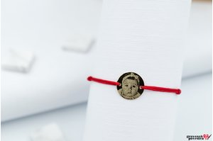 Bratara snur banut 10 mm personalizat gravura foto Aur 14K (chipul bebelusului)