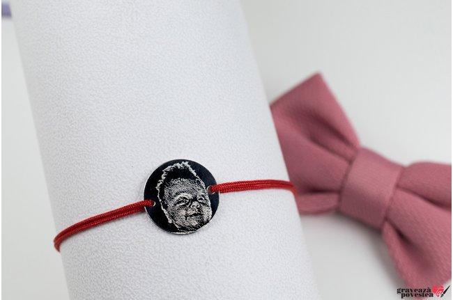Bratara snur banut 12 mm personalizat gravura foto Argint 925 rodiat