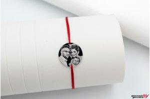 Bratara snur banut 17 mm personalizat gravura foto Argint 925 rodiat