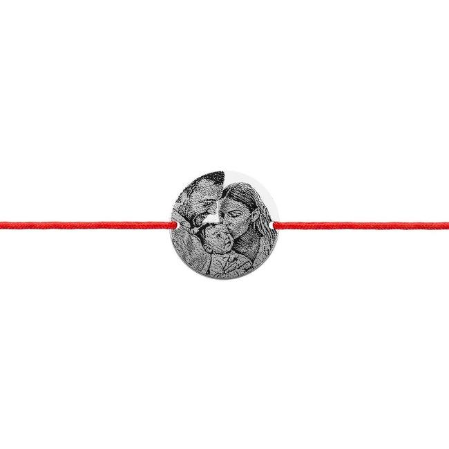 Bratara snur unisex banut 17 mm personalizat gravura foto Argint 925 rodiat