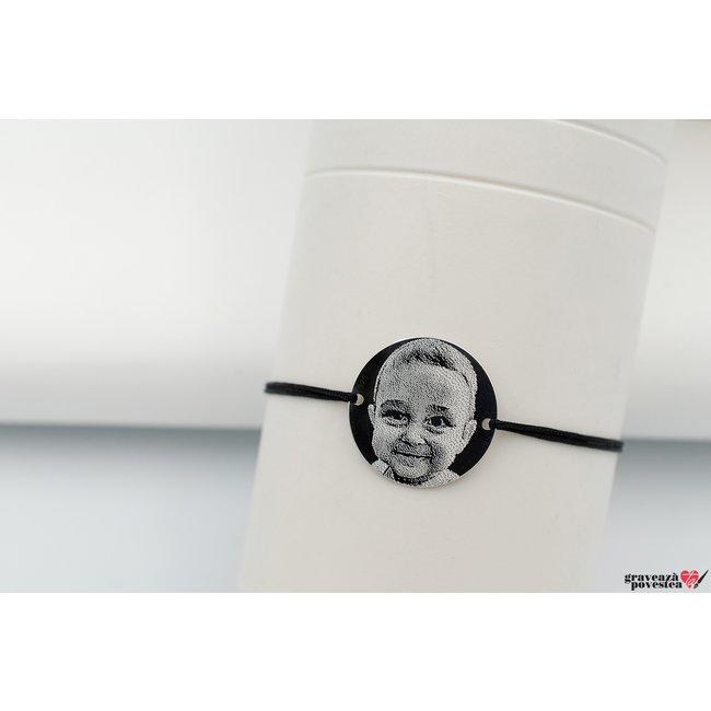 Bratara snur banut 19 mm personalizat gravura foto Argint 925 rodiat