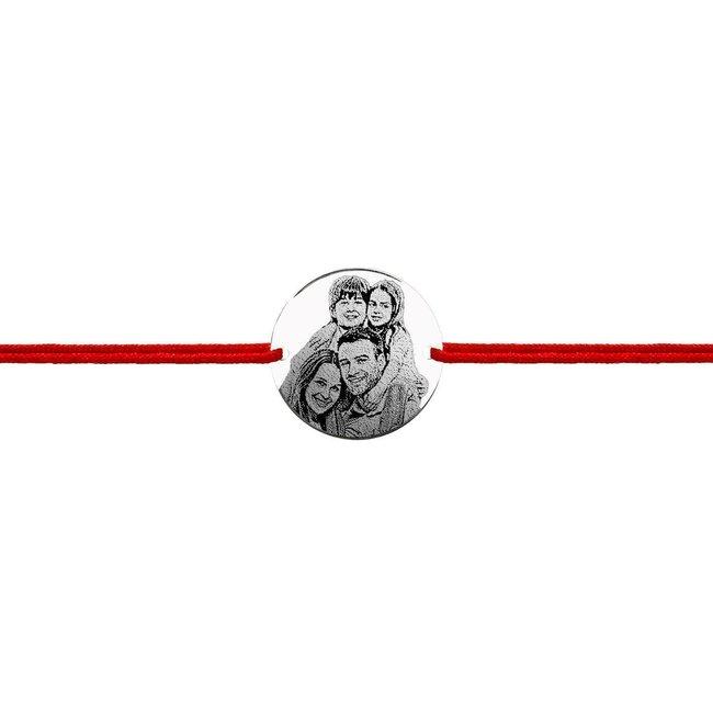 Bratara snur unisex banut 19 mm personalizat gravura foto Argint 925 rodiat