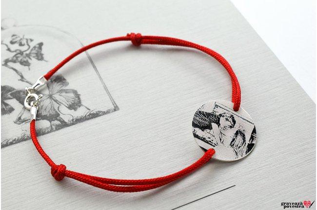 Bratara snur banut 19 mm personalizat gravura foto Argint 925 rodiat (cu carabina)