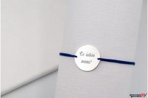 Bratara snur banut 19 mm personalizat gravura text Argint 925 rodiat
