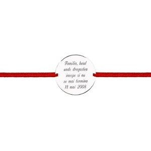 Bratara snur unisex banut 19 mm personalizat gravura text Argint 925 rodiat