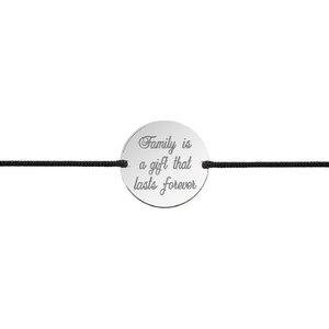 Bratara barbateasca snur gros banut 22 mm personalizat gravura text Argint 925 rodiat