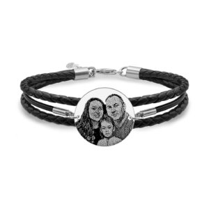 Bratara mix piele banut 22 mm personalizat gravura foto Argint 925 rodiat