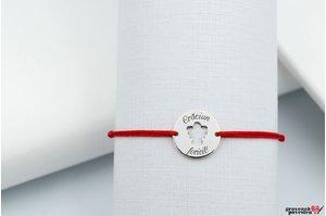 Bratara snur banut ingeras 15 mm personalizat gravura text Argint 926 rodiat