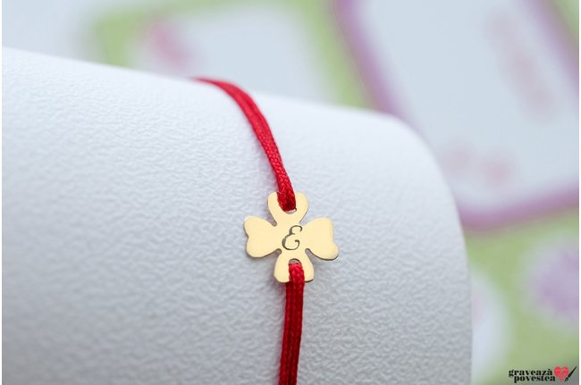 Bratara snur trifoi 10 mm personalizat gravura intiala Aur 14K