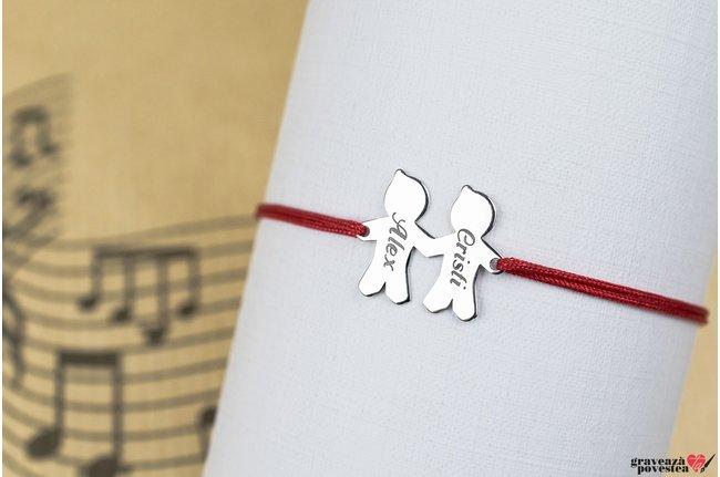 Bratara snur doi frati/ prieteni 17 mm personalizati gravura text Argint 925 rodiat