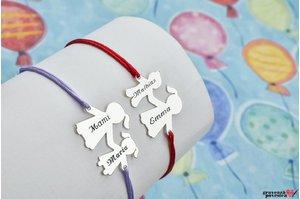 Bratara familie - doi membri 17 mm personalizati gravura text Argint 925 rodiat