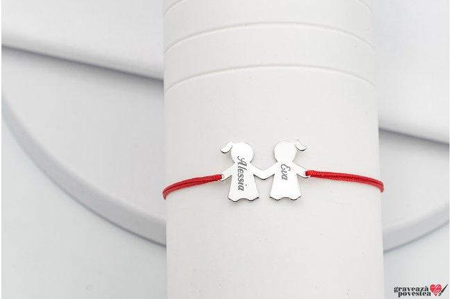 Bratara snur doua surori/ prietene 20 mm personalizate gravura text Argint 925 rodiat