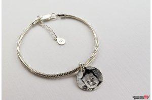 Bratara charms banut 17 mm personalizat gravura foto Argint 925 rodiat