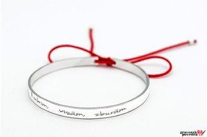 Bratara fixa lata de dama personalizata gravura text Argint 925 rodiat