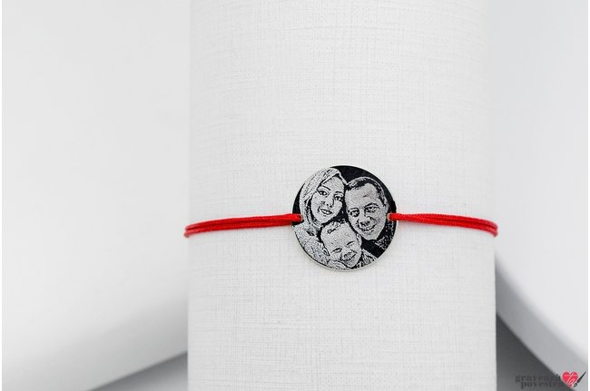 Bratara snur gros banut 22 mm personalizat gravura foto Argint 925 rodiat