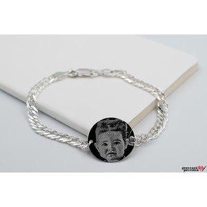 Bratara lant banut 22 mm personalizat gravura foto Argint 925 rodiat (lant Curbed XL)