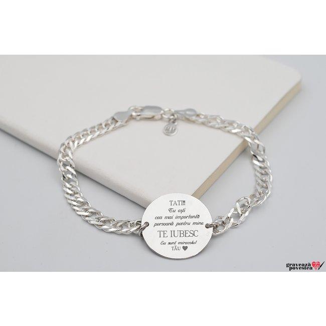 Bratara lant banut 22 mm personalizat gravura text Argint 925 rodiat (lant Curbed XL)