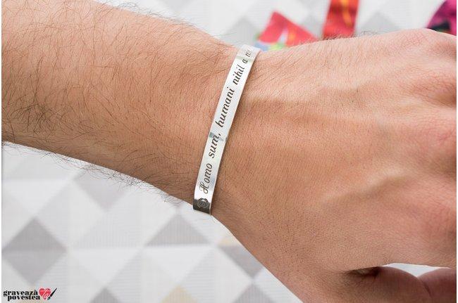 Bratara fixa lata de barbat personalizata gravura text Argint 925