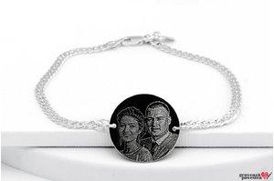 Bratara lant banut 22 mm personalizat gravura foto Argint 925 rodiat (lant Curbed)