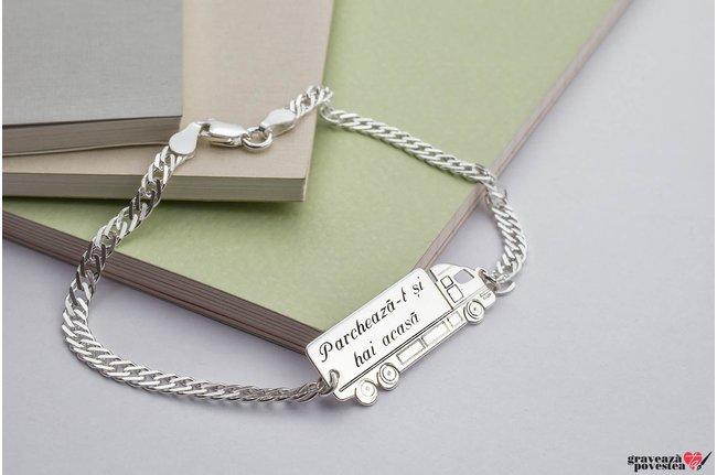 Bratara lant camion 35 mm personalizat gravura text Argint 925 rodiat (lant Curbed)