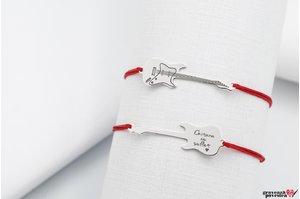 Bratara snur chitara 30 mm personalizata gravura text Argint 925 rodiat