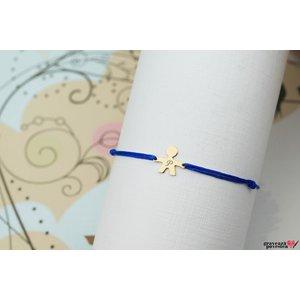 Bratara snur baietel 11 mm personalizata gravura initiala Aur 14K