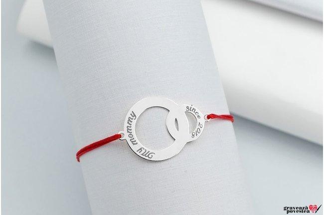Bratara snur cercuri 26 mm personalizate gravura text Argint 925 rodiat (parinte si copil)