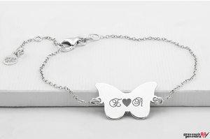 Bratara lant fluture 20 mm personalizat gravura text Argint 925 rodiat