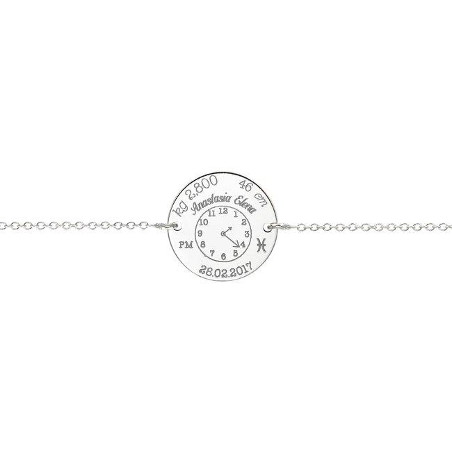 Bratara lant ceasul bebelusului banut 17 mm personalizat gravura foto Argint 925 rodiat