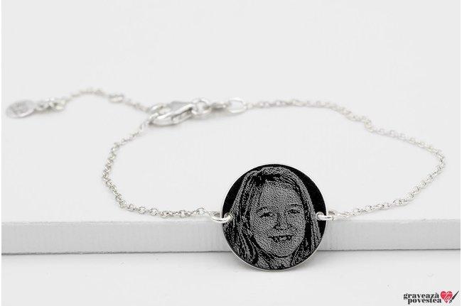 Bratara lant banut 17 mm personalizat gravura foto Argint 925 rodiat