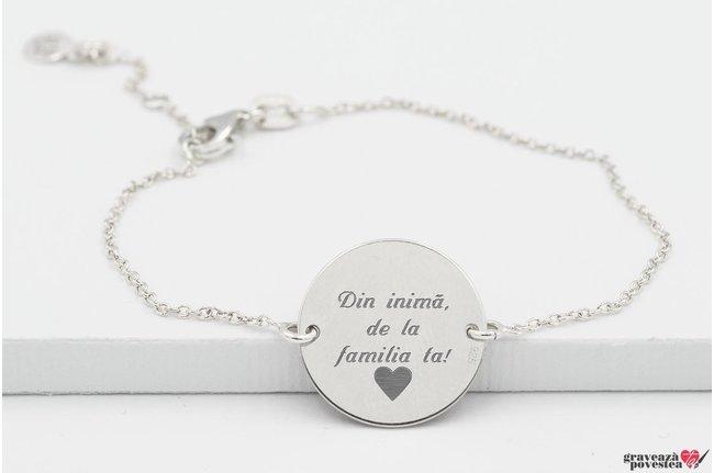 Bratara lant banut 17 mm personalizat gravura text Argint 925 rodiat