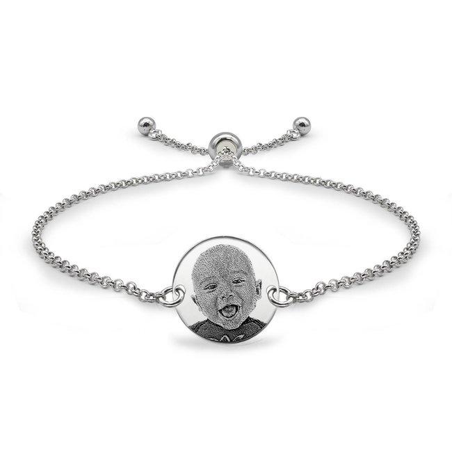 Bratara lant glisanta banut 14,5 mm personalizat gravura foto Argint 925 placat cu aur