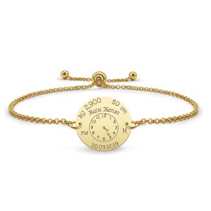 Bratara lant glisanta ceasul bebelusului banut 17 mm personalizat gravura foto Argint 925 placat cu aur