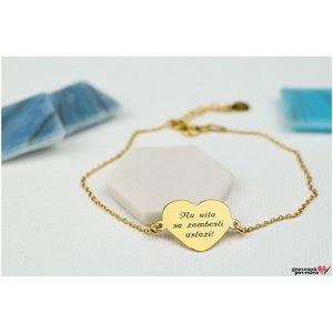 Bratara lant inima 15 mm personalizata gravura text Argint 925 placat cu aur