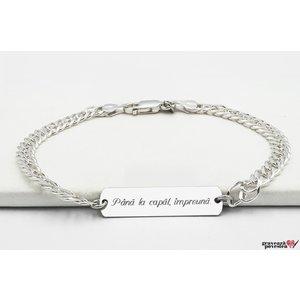 Bratara lant placuta 33 mm personalizata gravura text Argint 925 rodiat (lant Curbed XL)