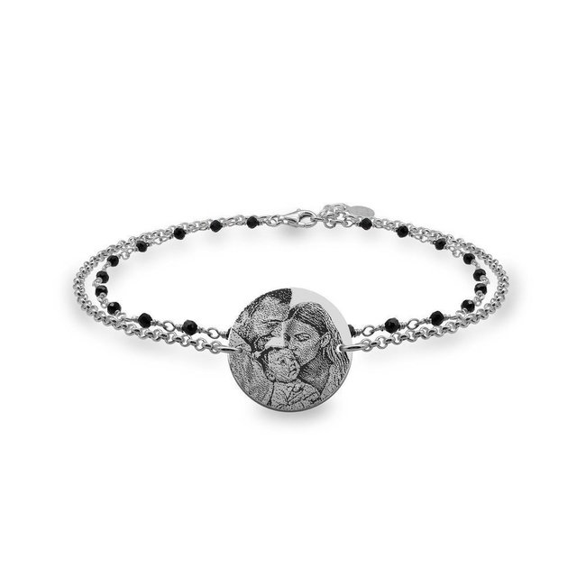 Bratara lant & rozariu banut 17 mm personalizat gravura foto Argint 925 rodiat