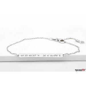 Bratara lant placuta 38 mm personalizata gravura text Argint 925 rodiat