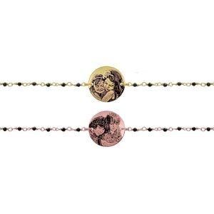 Bratara lant tip rozariu banut 17 mm personalizat gravura foto Argint placat cu Aur galben 24K sau roz 18K