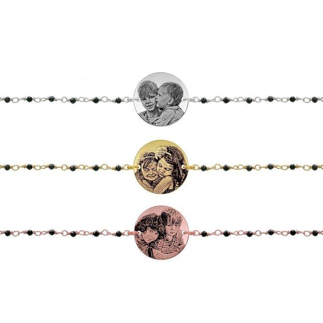 Bratara lant tip rozariu banut 17 mm personalizat gravura foto Argint 925 rodiat